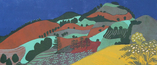 Land of Milk and Honey, 1988 (reduction linocut) (detail)