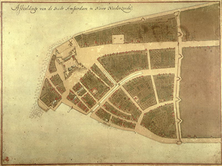 View of New Amsterdam, Costello Plan, 1660 (w/c on paper) by Jacques Cortelyou / Museum of the City of New York, USA