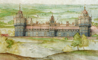 MFI23746 View of Nonsuch in Surrey, 1568 (w/c on paper) by Joris Hoefnagel (1542-1600) Private Collection/ Mark Fiennes