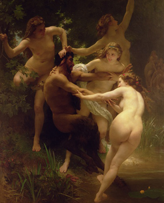 CLK339920 Nymphs and Satyr, 1873 (oil on canvas) by William-Adolphe Bouguereau (1825-1905)</BR>Sterling & Francine Clark Art Institute, Williamstown, USA