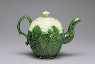 Cauliflower Teapot, from Burlem, Staffordshire, c.1759-66 (lead glazed cream earthenware, slip-cast) by English School, (18th century) Fitzwilliam Museum, University of Cambridge, UK