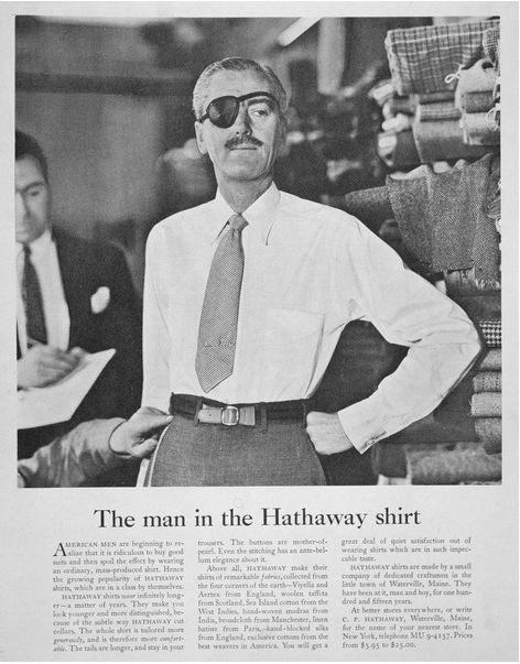Advert for the Hathaway Shirt, 1950s (litho), David MacKenzie Ogilvy (1911-99) / Private Collection / Peter Newark Western Americana / Bridgeman Images