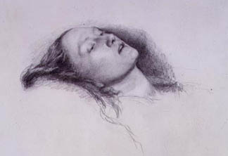 Elizabeth Siddal: Study for 'Ophelia', 1852 (pencil on paper) by Sir J.E.Millais / © Birmingham Museums and Art Gallery