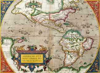Map of America from 'Theatrum Orbis Terrarum' originally executed in 1570, 1606 (coloured engraving) by Abraham Ortelius / Royal Geographical Society, London, UK