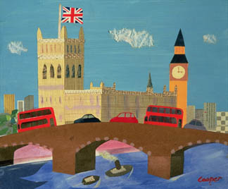 WC34797 The Houses of Parliament (collage) by  William Cooper (Contemporary Artist)