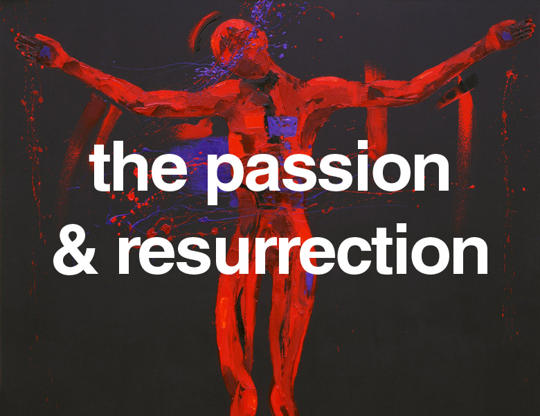 Powerful paintings of Jesus's crucifixion and rising.