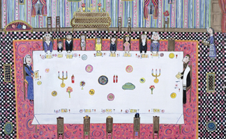 DH98593 Passover Meal, 1997 (oil on canvas) by Dora Holzhandler (Contemporary Artist)/ Private Collection