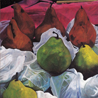 Pears, 2002 (oil on linen) by Pedro Diego Alvarado (Contemporary Artist)