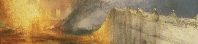 (detail) The Burning of the Houses of Lords and Commons, 16th October, 1834 (oil on canvas) by J.W.M. Turner