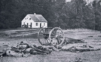 PNP264224 Dead Confederate Gun Crew after The Battle of Antietam, 17th September 1862 with the Dunker church in the background (b/w photo)/ Peter Newark Military Pictures