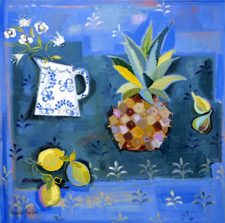 AFX 403647 Lemons and Pineapple (oil on canvas) by Annabel Fairfax