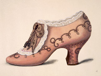 Illustration from a portfolio of watercolours of shoes , German School, (20th century) / Private Collection