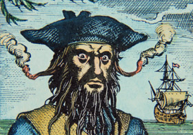 Blackbeard the pirate (coloured engraving), English School, (19th century) / Private Collection / Peter Newark Historical Pictures
