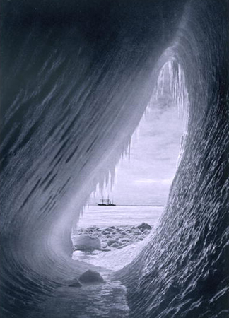 'Terra Nova' in the ice, from 'Scott's Last Expedition' (b/w photo) by Herbert Ponting / The Stapleton Collection