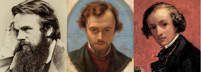 Portrait of William Holman Hunt (C19th) by Frederick Hollyer, The Stapleton Collection; Portrait of Dante Gabriel Rossetti, 1853 by W.H. Hunt / © Birmingham Museums and Art Gallery; Self Portrait, 1847 by Sir John Everett  Millais / © Walker Art Gallery,