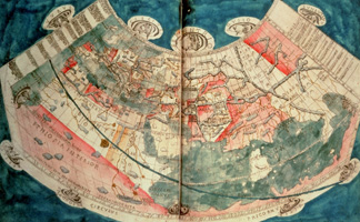 Map of the World based on a description by Ptolemaeus (w/c) by Ptolemy of Alexandria/ British Library, London, UK