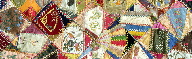 Crazy Quilt, 1883-93 (textile detail) by Victoriene Parsons Mitchell (1829-1916) Indianapolis Museum of Art, USA/ Gift of Mrs Jaema C. Ryan
