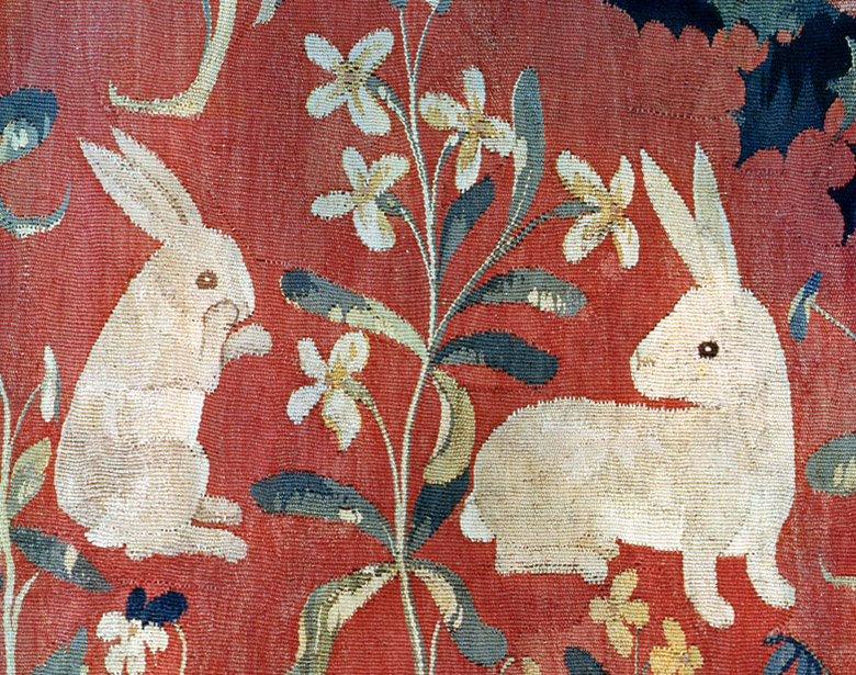 The Lady and the Unicorn: 'Taste', detail of two rabbits (tapestry), French School, (15th century) / Musee National du Moyen Age et des Thermes de Cluny, Paris