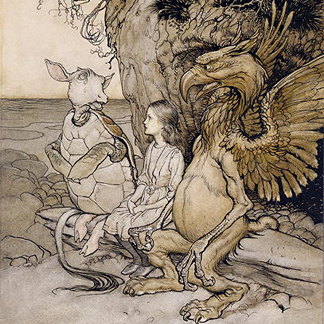 CBE198650 Alice and the Mock Turtle, illustration from 'Alice's Adventures in Wonderland', 1907 (pen and ink & w/c on paper) by Rackham, Arthur (1867-1939)</br>Chris Beetles, London, U.K.