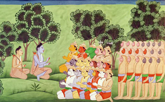 CHT214155 Lakshmana Consulting the Heads fo the Monkey Armies, from the Ramayana (gouache on paper) 19th century/ Archives Charmet