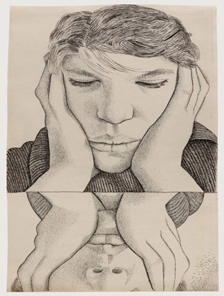 Narcissus, 1949 (pen and ink on paper) Lucian Freud (1922-2011) / Private Collection / © The Lucian Freud Archive