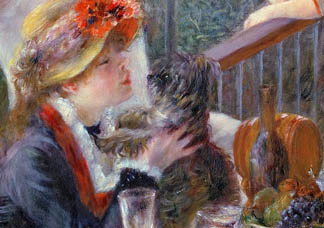 The Luncheon of the Boating Party, 1881 (detail of 9795) by Pierre Auguste Renoir (1841-1919) Phillips Collection, Washington DC, USA