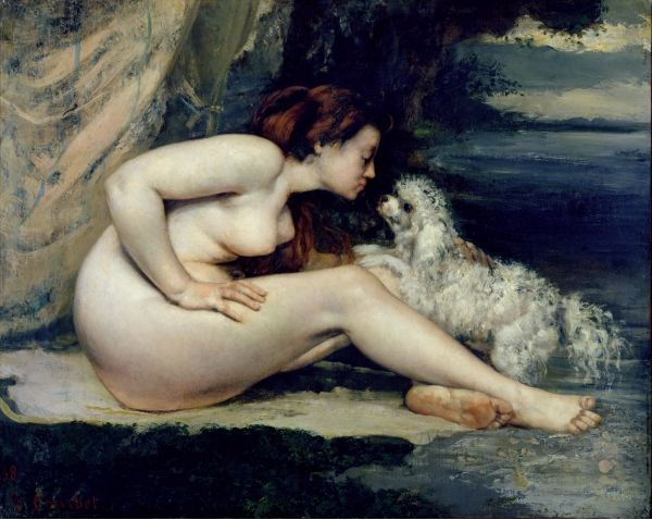 Female Nude with a Dog (Portrait of Leotine Renaude) 1861-62 (oil on canvas), Gustave Courbet (1819-77) / Musee d'Orsay, Paris, France / Bridgeman Images