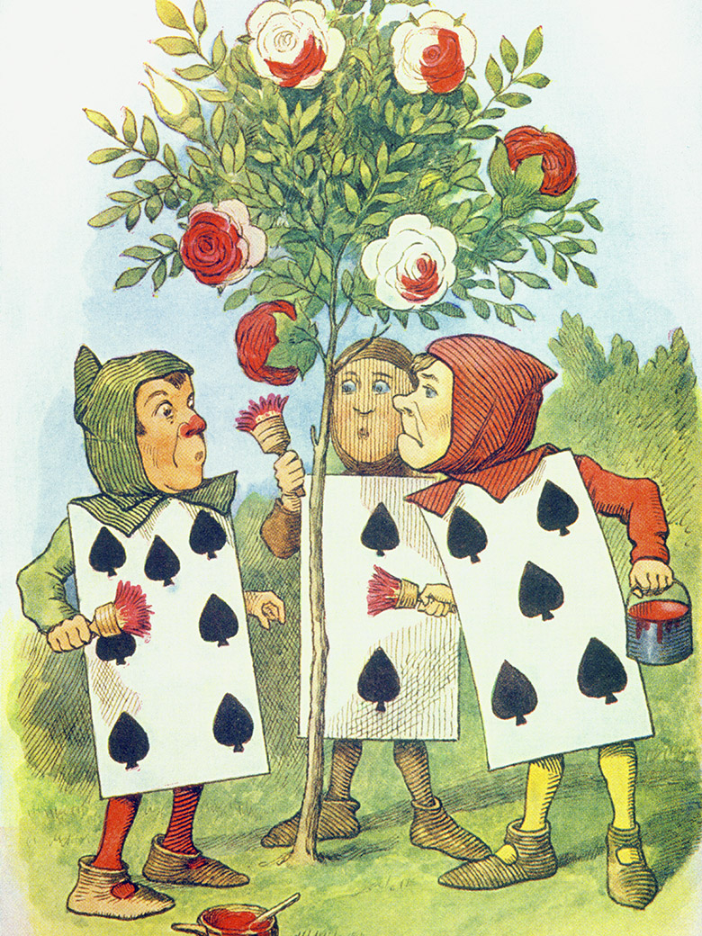 The Playing Cards Painting the Rose Bush (colour litho), John Tenniel (1820-1914) / Private Collection / Bridgeman Images