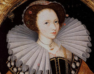 Portrait of a Lady with a Large Ruff, an Armillary Sphere in the Background by English School, (16th century)