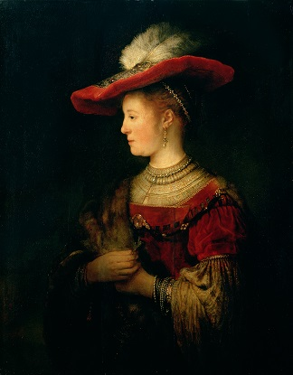 Portrait of Saskia van Uylenburgh (1612-42) (oil on panel), by Rembrandt (1606-69) / Gemaeldegalerie Alte Meister, Germany