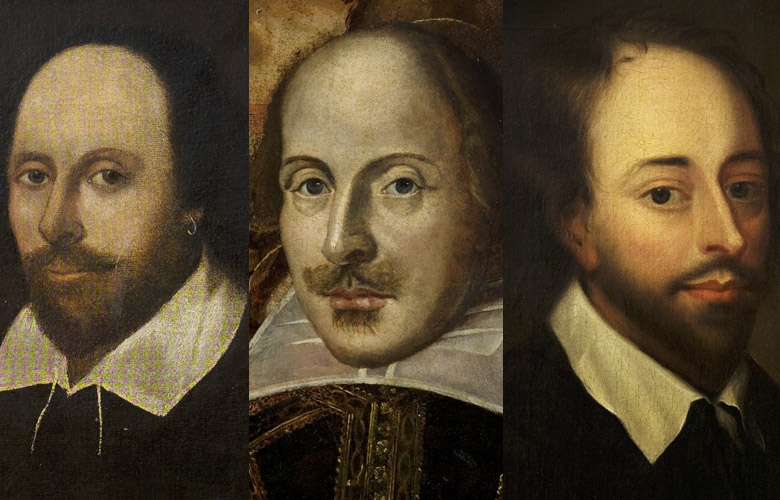 Copy after the 'Chandos Portrait', English School. The Flower Portrait of William Shakespeare c.1820-40 by English School. William Shakespeare by Gerard Soest (c.1600-81) Montage