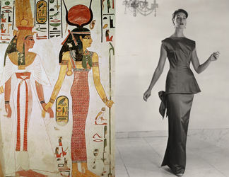 Isis and Nefertiti, from the tomb of Nefertiti (c. 1297-1185 BC), Thebes;  Sophisticated sheath dress by Michael, Autumn 1955 (b/w photo) by Zanton / Fashion Museum, Bath, UK