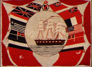 Ship and Flags, by William Sandle (woolwork) Private Collection/ © Crane Kalman, London