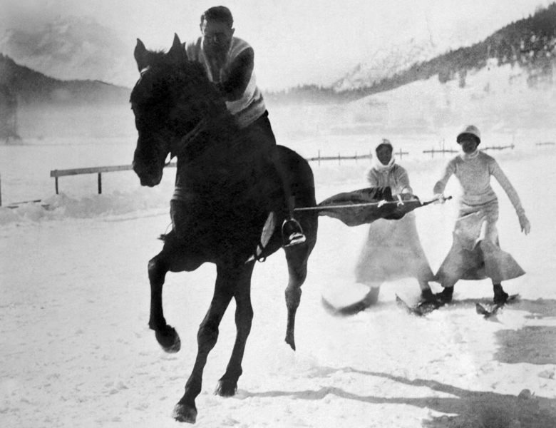 Skijoring In Germany (b/w photo) / Underwood Archives / UIG