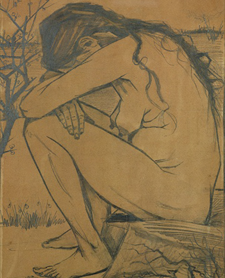 Sorrow (detail), 1882 (pencil, pen and ink) by Vincent van Gogh/ Walsall Art Gallery, UK