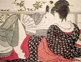 VAM5934 Lovers from the 'Poem of the Pillow', ('Uta makura') (colour woodblock print) by Utamaro, Kitagawa (1753-1806)</BR>Victoria & Albert Museum, London, UK