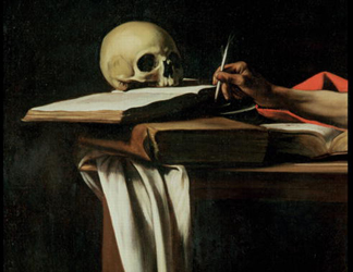 KAB64912 St. Jerome Writing, c. 1604 (detail of)/ Galleria Borghese, Rome, Italy