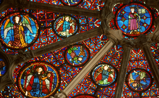 PC340040 North rose window (stained glass) by French School, (13th century), Cathedral de St. Jean, Lyon, France