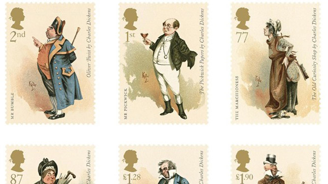 The stamps celebrate the 200th anniversary of Charles Dickens' birth Credit: Royal Mail/