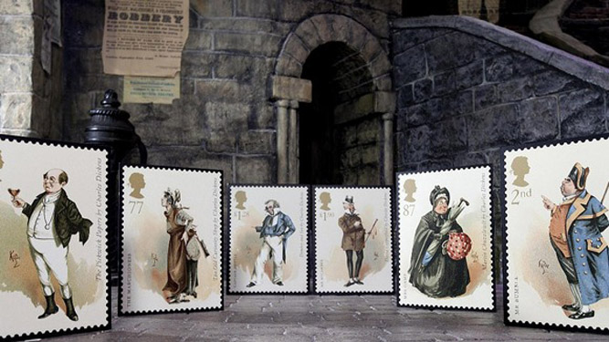 The first-class stamp features Dickensian characters Credit: David Parry/PA Wire