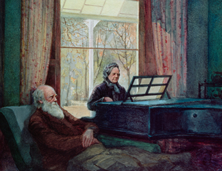 5514 Charles Darwin and his wife at the Piano by Anonymous, Down House, Downe, Kent, UK