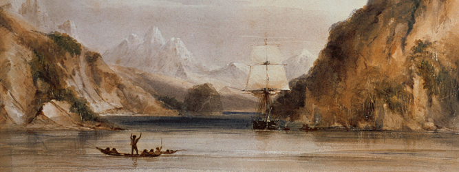 4367 HMS 'Beagle' in the Murray Narrows, Beagle Channel (w/c on paper) by Conrad Martens (1801-78), Down House, Kent, UK