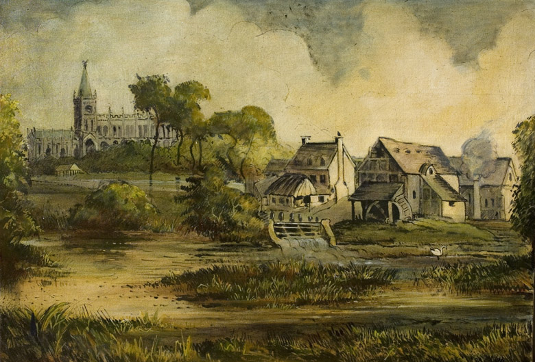 View of Stratford-upon-Avon, Warwickshire (oil on canvas), English School