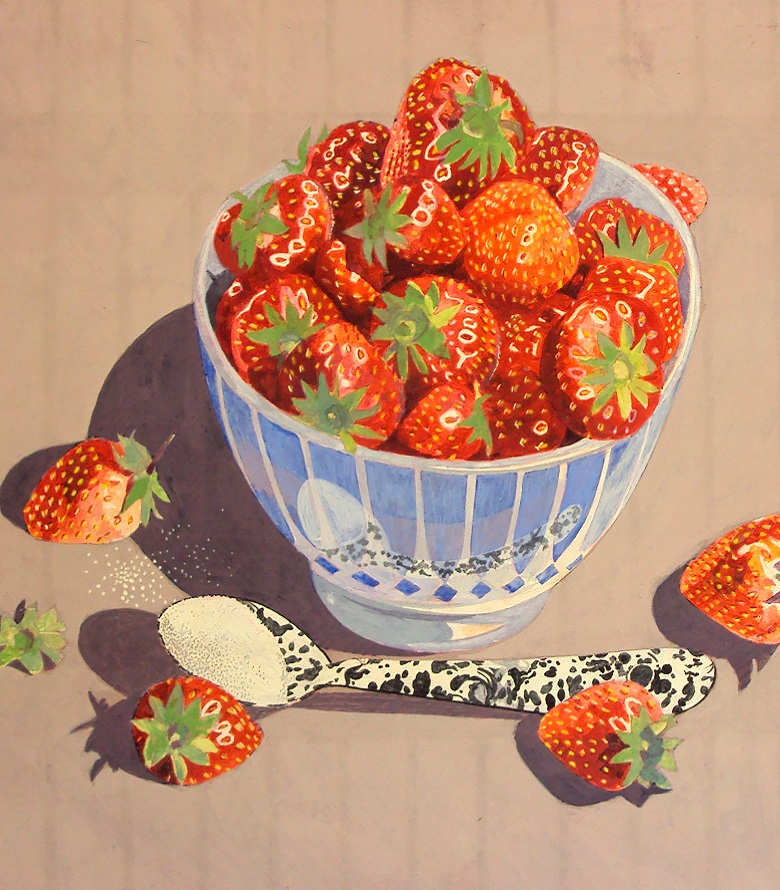 Strawberries & Sugar, c.1980-99 (detail) (tempera)
