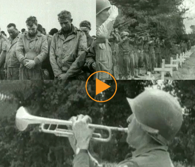 Allied troops pray, military funeral for the fallen. Normandy 1944 / Bridgeman Footage