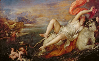 ISG113866 Europa, 1559-62 (oil on canvas) by Titian/ Isabella Stewart Gardner, Boston, MA