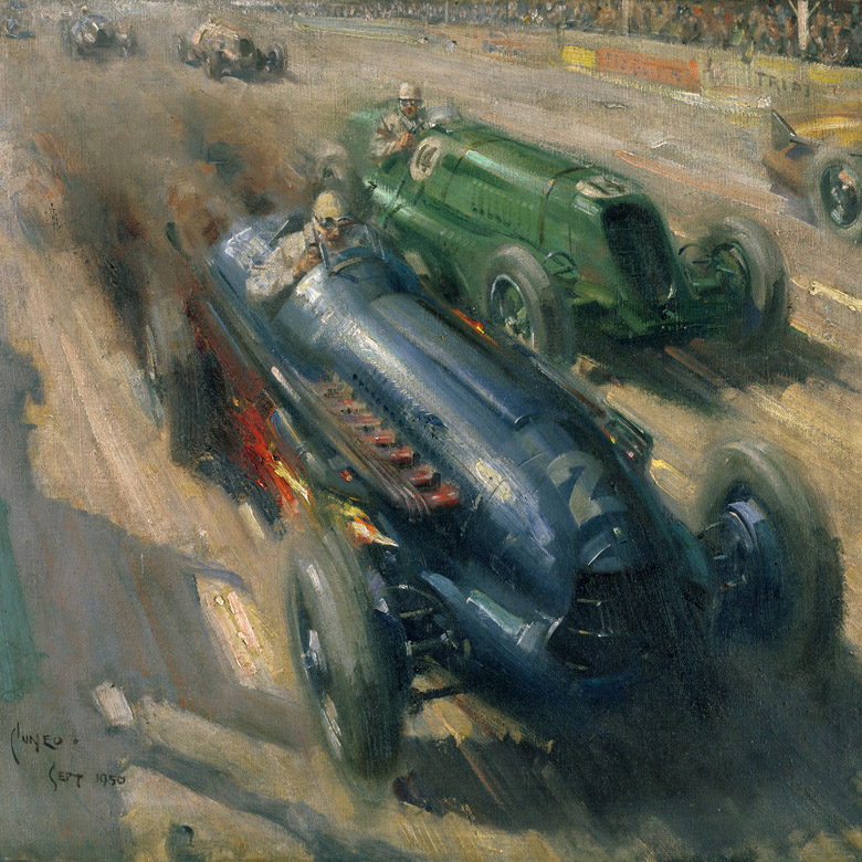 Racing Cars, 1950 by Terence Cuneo 1907-96) Private Collection/ Photo © Bonhams, London