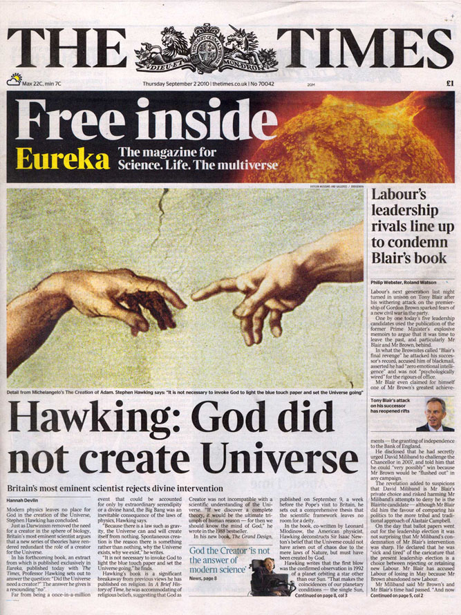 Front page of The Times 02/09/2010. The Creation of Adam, from the Sistine Ceiling, 1510  (detail), Michelangelo Buonarroti (1475-1564) / Vatican Museums and Galleries, Vatican City, Italy / Alinari
