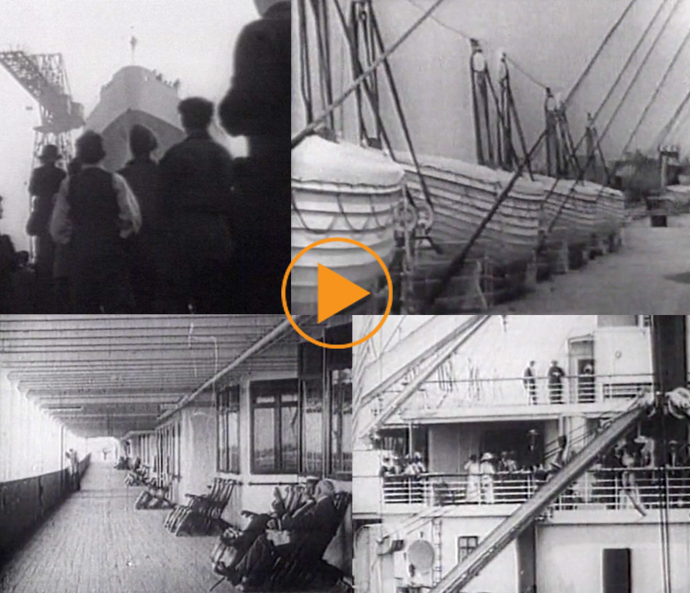 The RMS Titanic sets sail from Southampton, England on 10th April 1912 / Bridgeman Footage