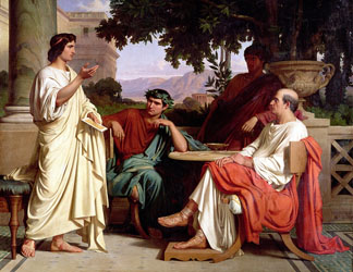 Horace, Virgil and Varius at the house of Maecenas by Charles Francois Jalabert / Musee des Beaux-Arts, France, Giraudon
